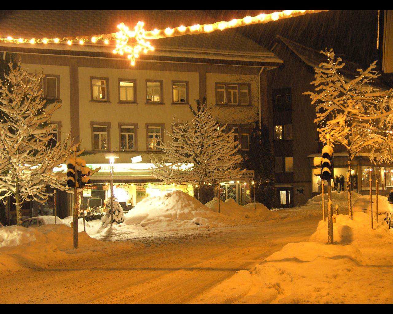 Furtwangen In Einer Winternacht