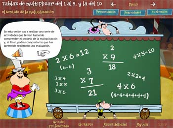 Tablas de multiplicar del 1 al 5, y la del 10