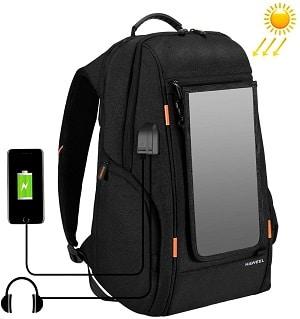 mochila con carga solar haweel