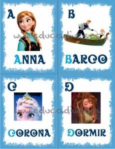 Frozen - abecedario imprimible pagina 1