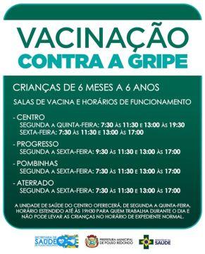 Vacinação contra gripe para crianças de 6 meses a 6 anos começa nesta segunda em Pouso Redondo