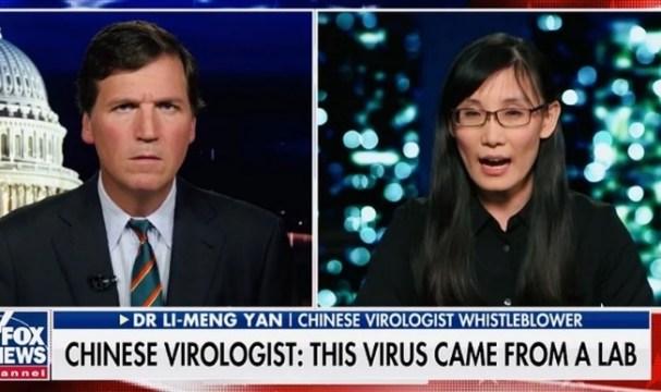 A Dra. Li-Meng Yan deu entrevista para o apresentador Tucker Carlson, denunciando que o coronavírus foi liberado intencionalmente de um laboratório chinês. (Imagem: Fox News)