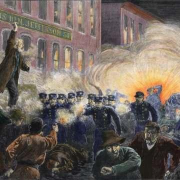 Pintura retrata a manifestação na praça Haymarket, em Chicago (Foto: Reprodução)