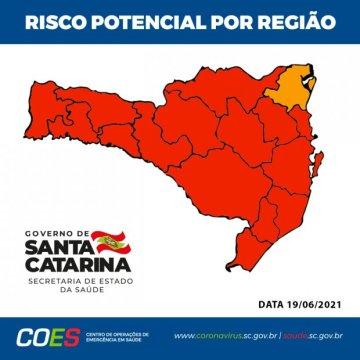 Matriz de Risco aponta 15 regiões em nível gravíssimo para Covid-19 em SC