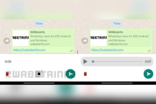 Nova funcionalidade adicionaria um novo botão de pausa, que permitiria ouvir a gravação de áudios antes de enviá-los (Foto: WABetaInfo / Reprodução)