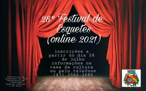 Já estão abertas as inscrições para o 28° Festival de Esquetes de Taió