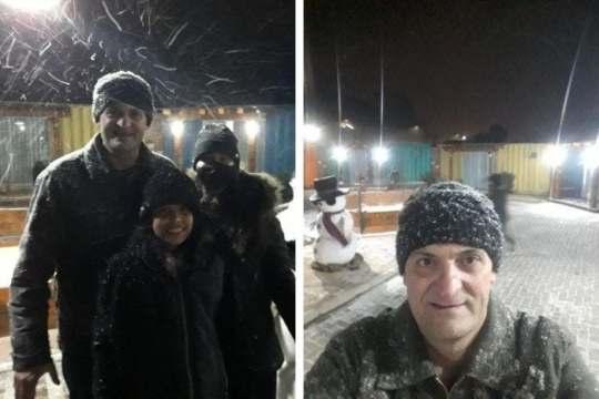Evanildo Pauli e família viram a neve pela primeira vez em em Bom Jardim da Serra (Foto: Arquivo pessoal)