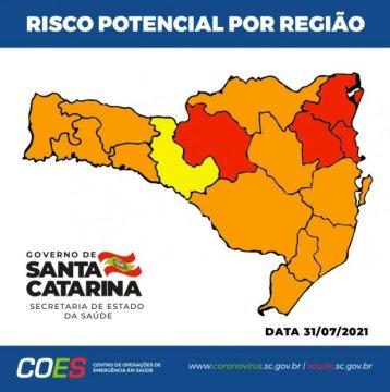 Governo de SC divulga novos indicadores da Matriz de Risco Potencial da Covid