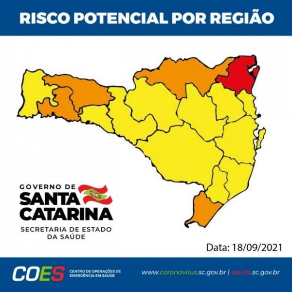 Coronavírus: Pela segunda semana consecutiva, apenas região Nordeste é classificada em risco gravíssimo em SC