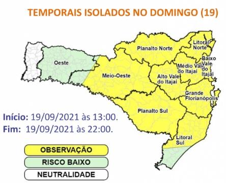Defesa Civil emite novo alerta para temporais em SC com raios e ventania; veja as regiões