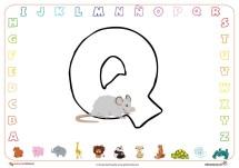 Ficha abecedario para colorear Q