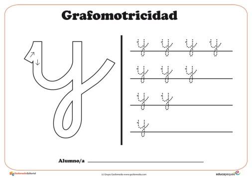 """Ficha de grafomotricidad con la letra """"Y"""""""