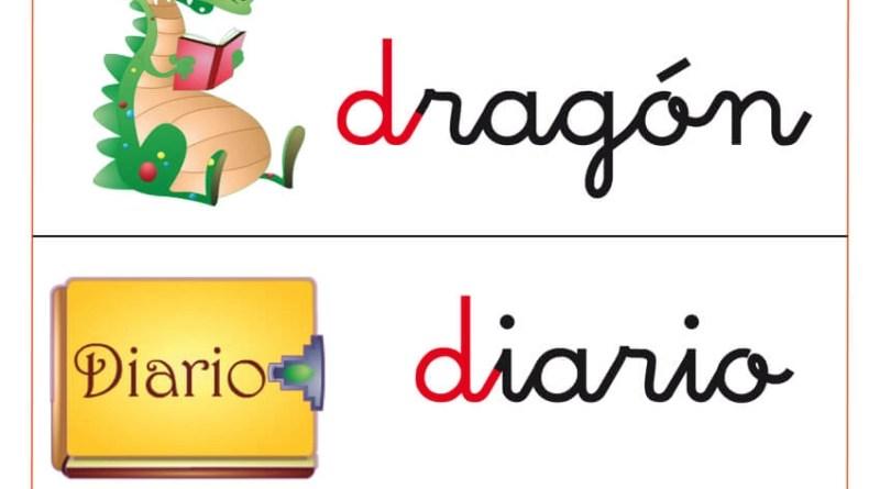 fichas de letras para trabajar la letra d con los niños. fichas que comienzan con la letra d