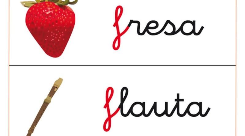 fichas de letras que comienzan por f y fichas de vocabulario con la f: fresa, flauta, flor, etc.