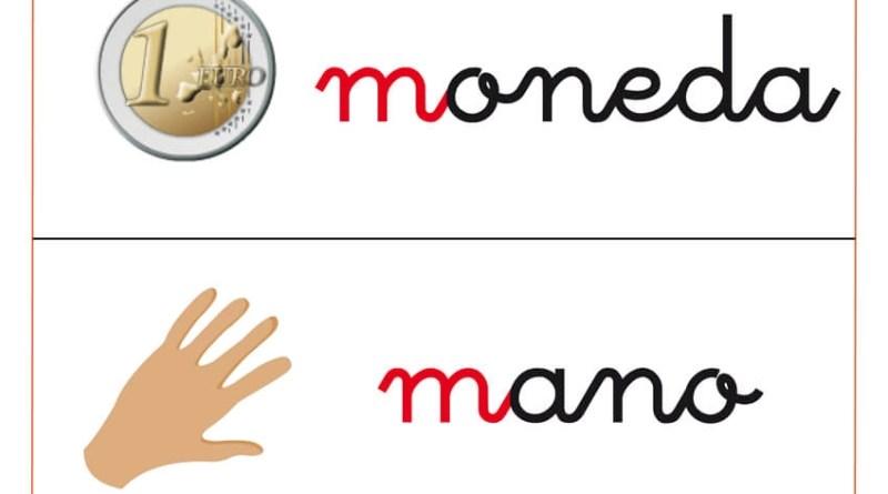 """Trabaja el vocabulario con palabras como moneda, mano, con las fichas de vocabulario con la letra """"M"""" de educapeques."""