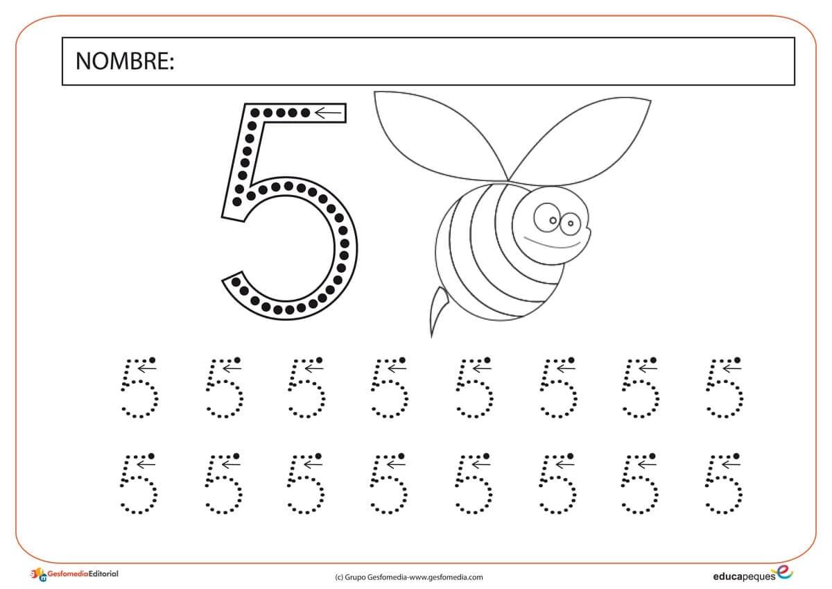 Fichas Numericas Numero Cinco