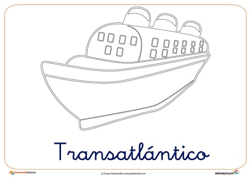 transatlantico ficha transporte colorear