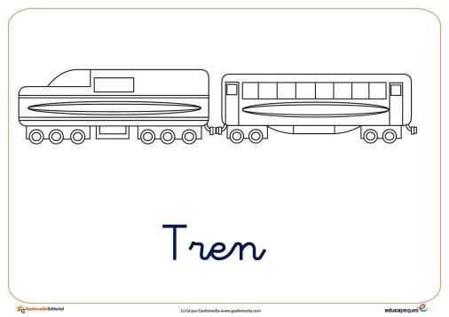tren ficha transporte colorear