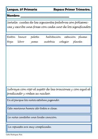 fichas lengua quinto primaria 13