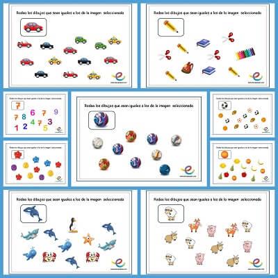 Fichas para estimular la atenci n en los ni os rodea los iguales - Colores para la concentracion ...