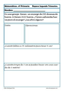 ejercicios matemáticas cuarto primaria 16