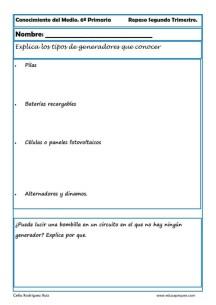 Fichas Conocimiento del medio sexto primaria 2 trimestre 03