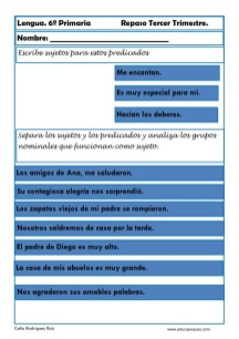 ejercicios lengua sexto primaria 06