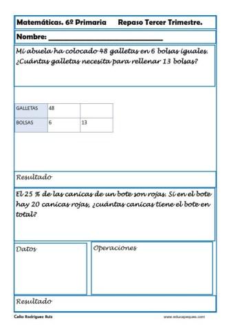 fichas matemáticas sexto primaria 29