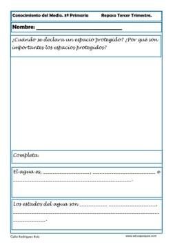 Fichas Conocimiento del medio sexto primaria 3 trimestre 04