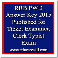 RRB PWD Answer Key 2015 Published for Ticket Examiner Clerk Typist Exam CEN 2-2015