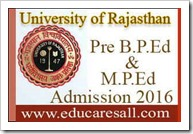Pre BPEd MPED Admission for 2016 - Rajasthan University