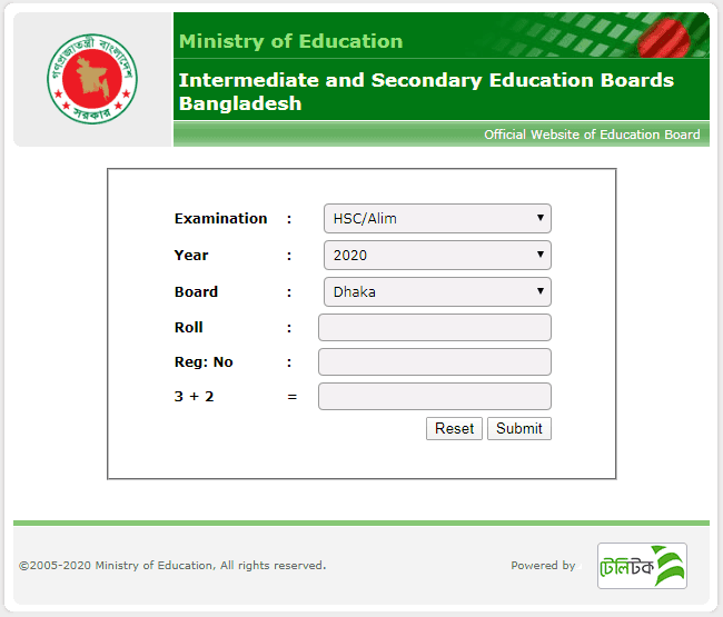hsc result 2020 dhaka board educationboardresults