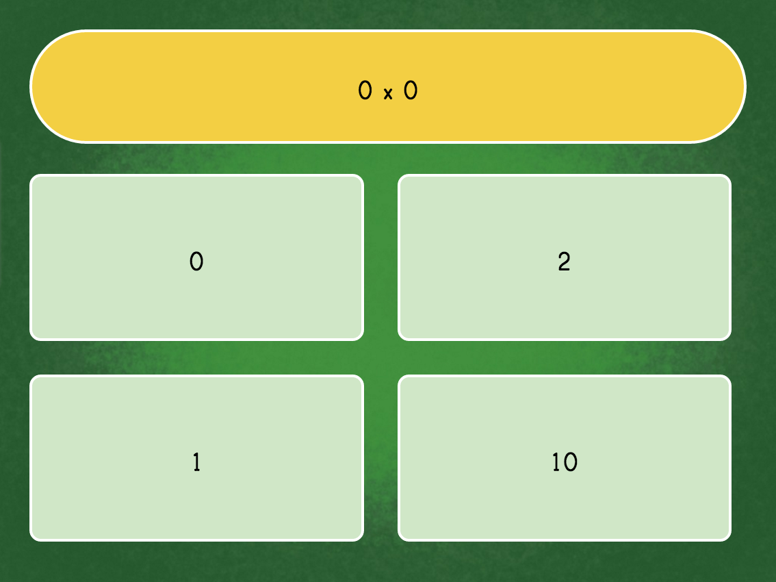 Multiply By 0 Game Quiz