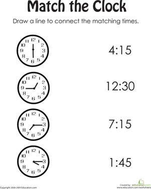 time worksheet: NEW 373 TIME MATCH UP WORKSHEET