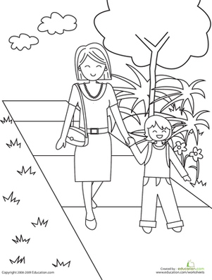 Walking To School Printable Coloring Pages