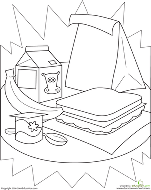 Lunch Printable Coloring Pages
