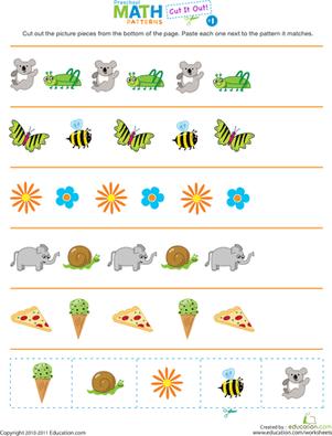 Cut It Out Patterns 1  Worksheet  Educationcom
