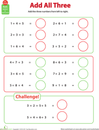 Add All Three: Adding Three Numbers | Worksheet ...