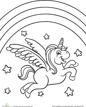 Flying Unicorn Coloring Cake Ideas and Designs
