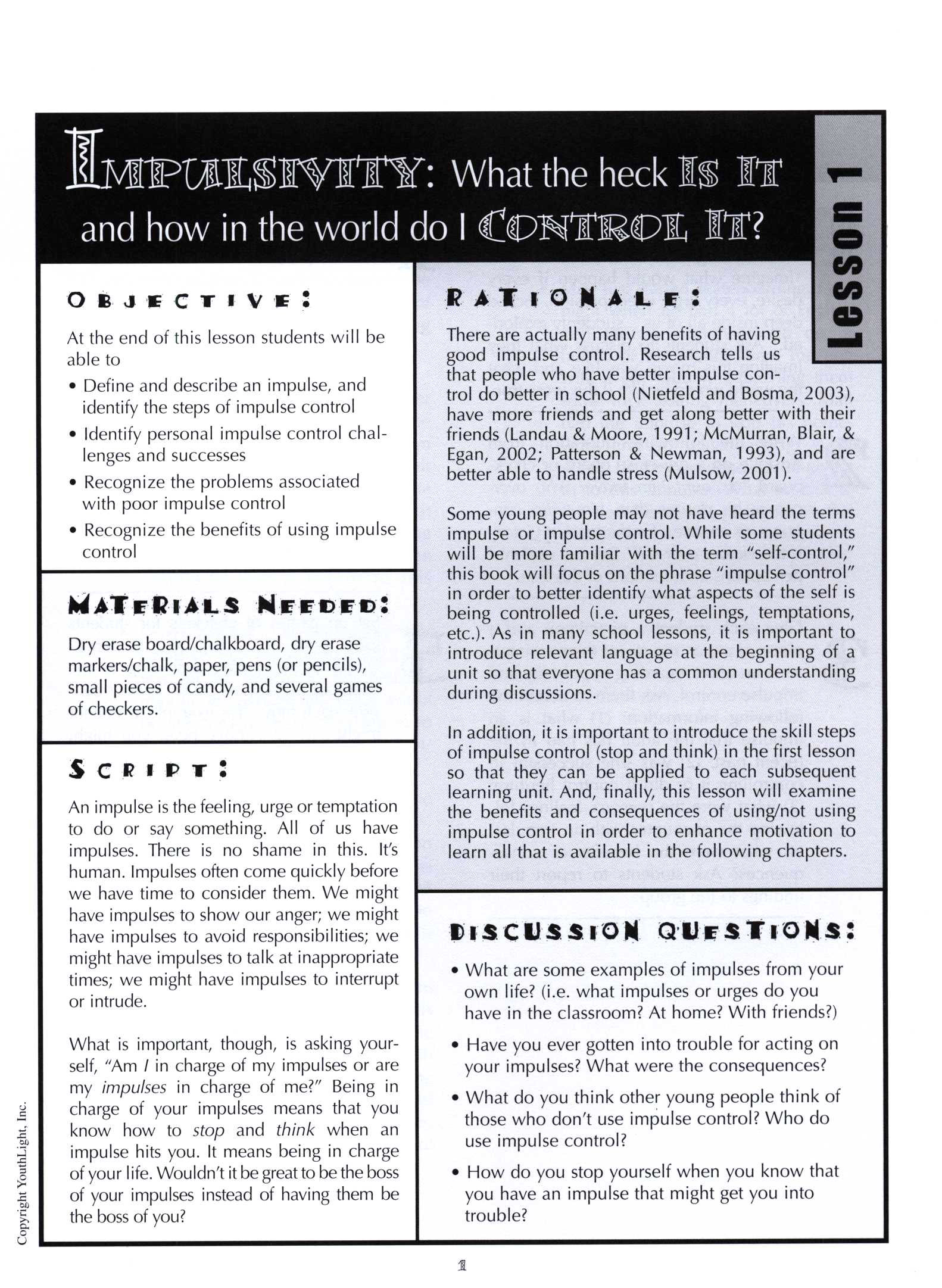 Impulse And Control Activity Sheets For Middle School Students