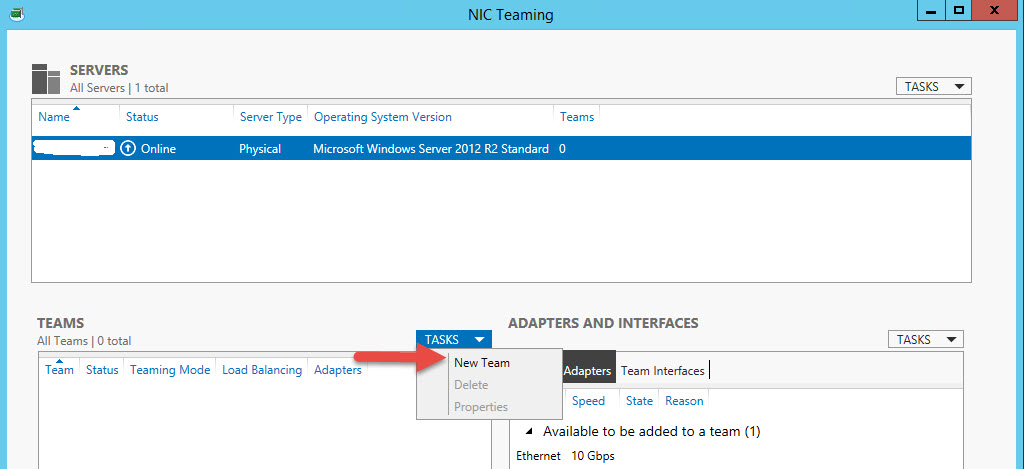 Server 2012 R1/R2 Creating a Network Team and enable Jumbo
