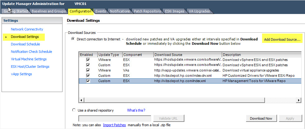 Using VMware Update Manager to automatically download HP Drivers to