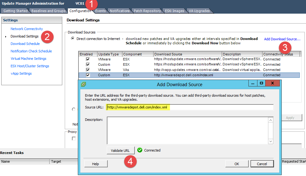 Using VMware Update Manager to automatically download Dell