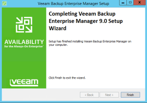 14 - Confirmation of successful install of Veeam Backup Enterprise