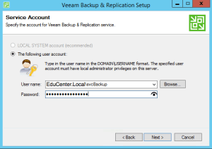 23 - Confirm your Service Account Password for Veeam Backup and Replication