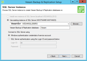 24 - Select the database to use for Veeam Backup and Replication v9