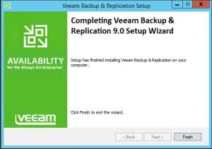28 - Confirmation of successful installation of Veeam Backup and Replication v9