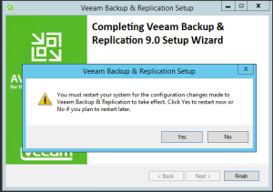 29 - Reboot neccessary after installation of Veeam Backup and Replication v9
