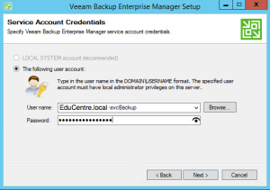 9 - Enter Veeam Service Account Details