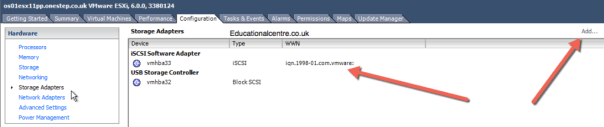 Add iSCSI Software Adapter to ESXi Host